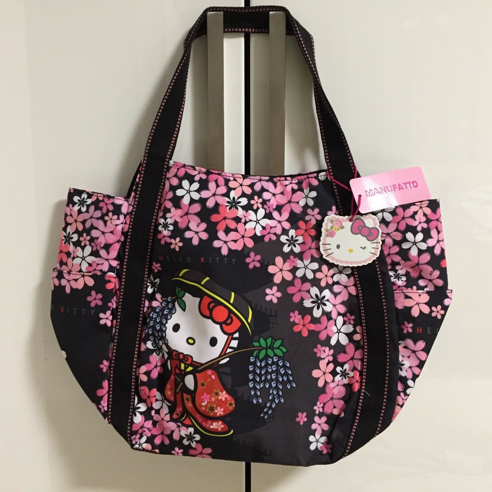 HELLO KITTY x DEARISIMO 2WAY Balloon Type Large Tote Bag Kimono Maiko Japan
