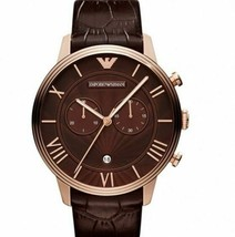 Emporio Armani Watch, Men's Chronograph Brown Croco Leather Strap 46mm AR1616 - £96.49 GBP