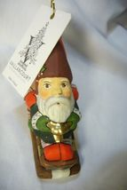 Vaillancourt Folk Art, Three Christmas Gnomes on Sled  Ornament hand Blown image 3
