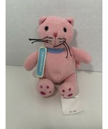 Baby Gap Squeakers Punky pink plush cat small toy blue collar no sound s... - $19.79