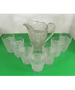 Vintage Imperial Glass DAISY AND BUTTON Water Pitcher Set with 7 Tumbler... - $97.96