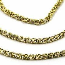 9K YELLOW GOLD CHAIN SPIGA EAR ROPE LINKS 2.5 MM THICKNESS, 24 INCHES, 60 CM image 3