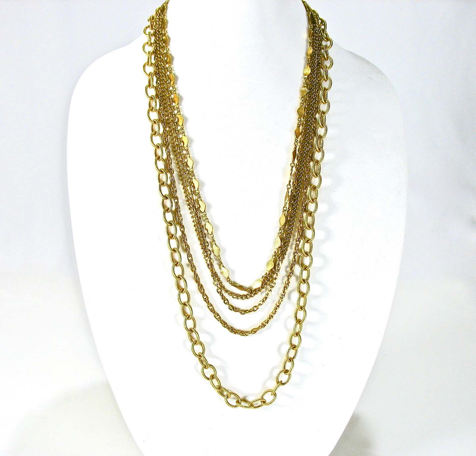 Primary image for Multiple Chain Necklace, Multi Chains, Five Strands, 1970's, Gold Tone, Box Clas