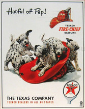 Texaco Gas Hatful of Pep Dalmatians in Fire Fighter Helmet Metal Sign - $20.95