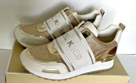 New Michael Kors Teddi Trainer sneakers size 6 White / Pale Gold / Glitter - $107.91