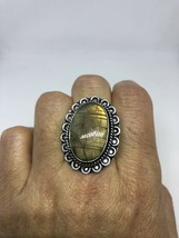 Vintage Silver Genuine Green Rainbow Labradorite Size 9.75 Ring - $75.24