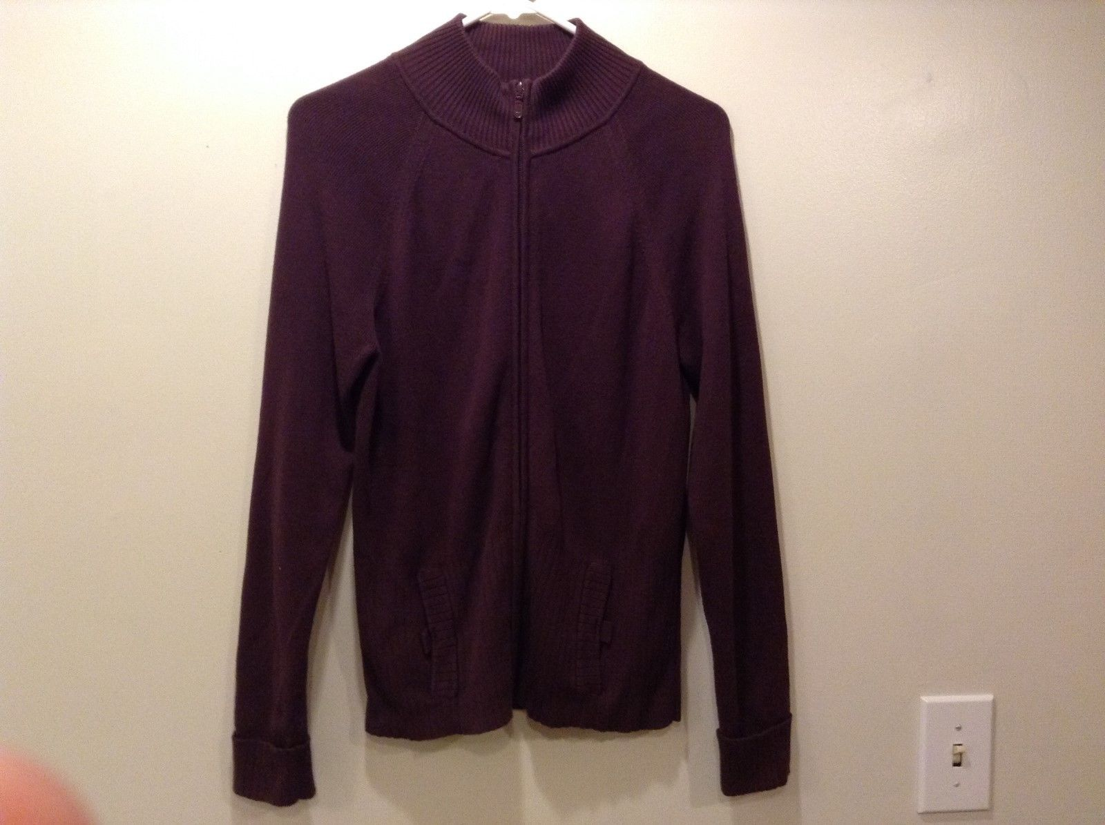Covington Ladies Dark Purple Zip Up Jacket Sz M 10-12