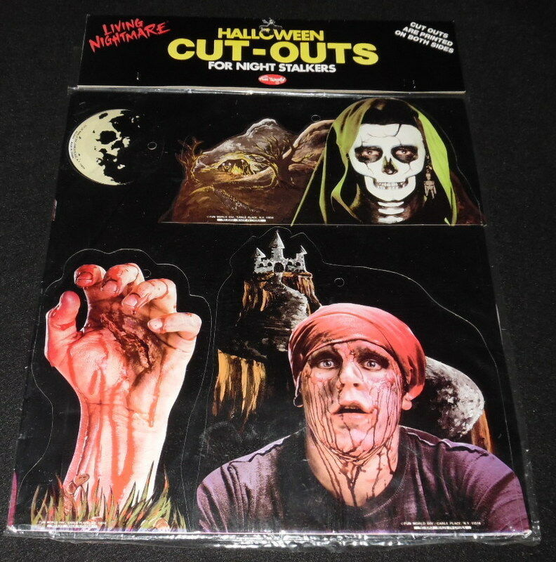 Primary image for Vintage 1980s Fun World Living Nightmare Halloween Cut Outs Skeleton Zombie