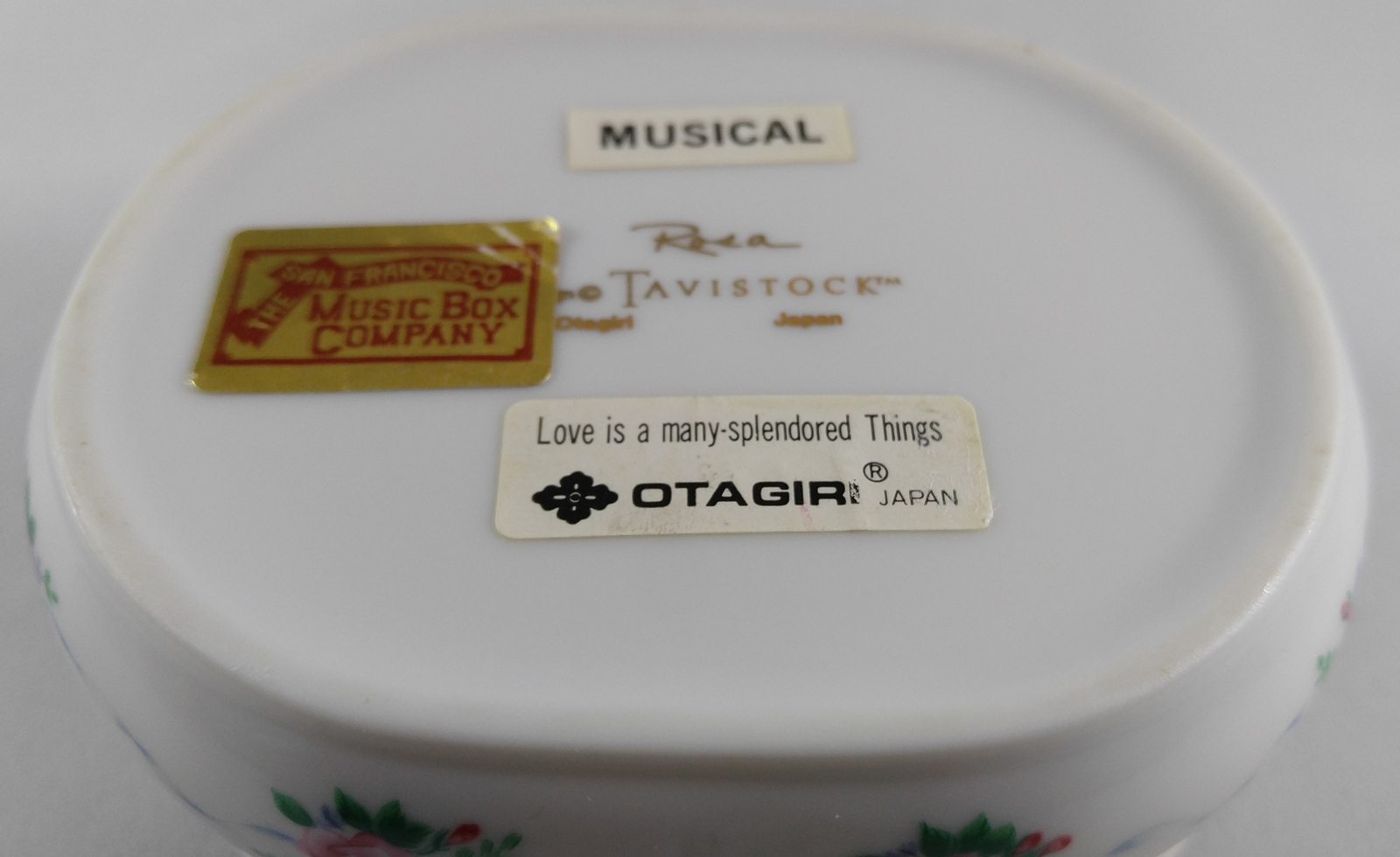 Vintage Otagiri Rosa Tavistock Porcelain San Francisco Music Box Trinket Box