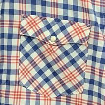 Mens Pearl Snap Shirt Martin Osa Size Large Red White Blue Plaid Short S... - $10.00