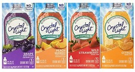 Crystal Light With Caffeine Variety Pack 40 Total Packets Gluten Free - New 2016