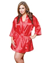 I COLLECTION RED CLASSIC SATIN ROBE WITH TIE SIZE Large/Xlarge - $15.67