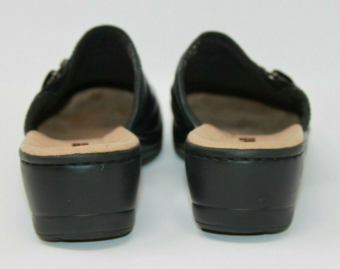 Clarks Size 7.5 M Soft Cushion Black Comfort Slip On Shoes Women's Mules