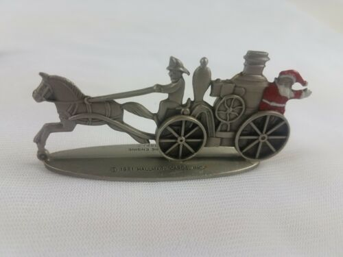 Hallmark Lot of 3 Pewter Steam Fire Engine U.S. Mail Wagon Open Topped Surrey image 5