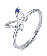 Round Cut Blue Sapphire Women's Butterfly Ring 14k White Gold Plated 925... - $50.23