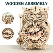 161 Pcs DIY 3D Owl Clock Wooden Building Block Kits Assembly Toy Gift Ki... - $55.00