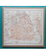 "BELGIUM Lille Town Plan  - 1905 CITY MAP 9 x 10""  (22.5 x 24.5 cm) - $19.80"