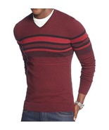 Alfani Men's Sweater V-neck Raisin Torte Black Combo Striped Pullover New - $26.99