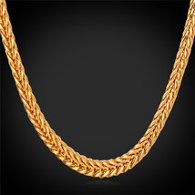 """Necklaces, With 18K Stamp 4MM 55CM 22"""" Foxtail 18K Gold Plated N850 - $27.99"""
