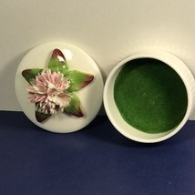 VINTAGE AYNSLEY FLOWERS FIGURINE JEWELRY TRINKET PORCELAIN BOX ENGLAND P... - $34.65