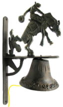 Cast Iron Wall Mount Cowboy Bell Indoor or Outdoor Western Decor - $39.59