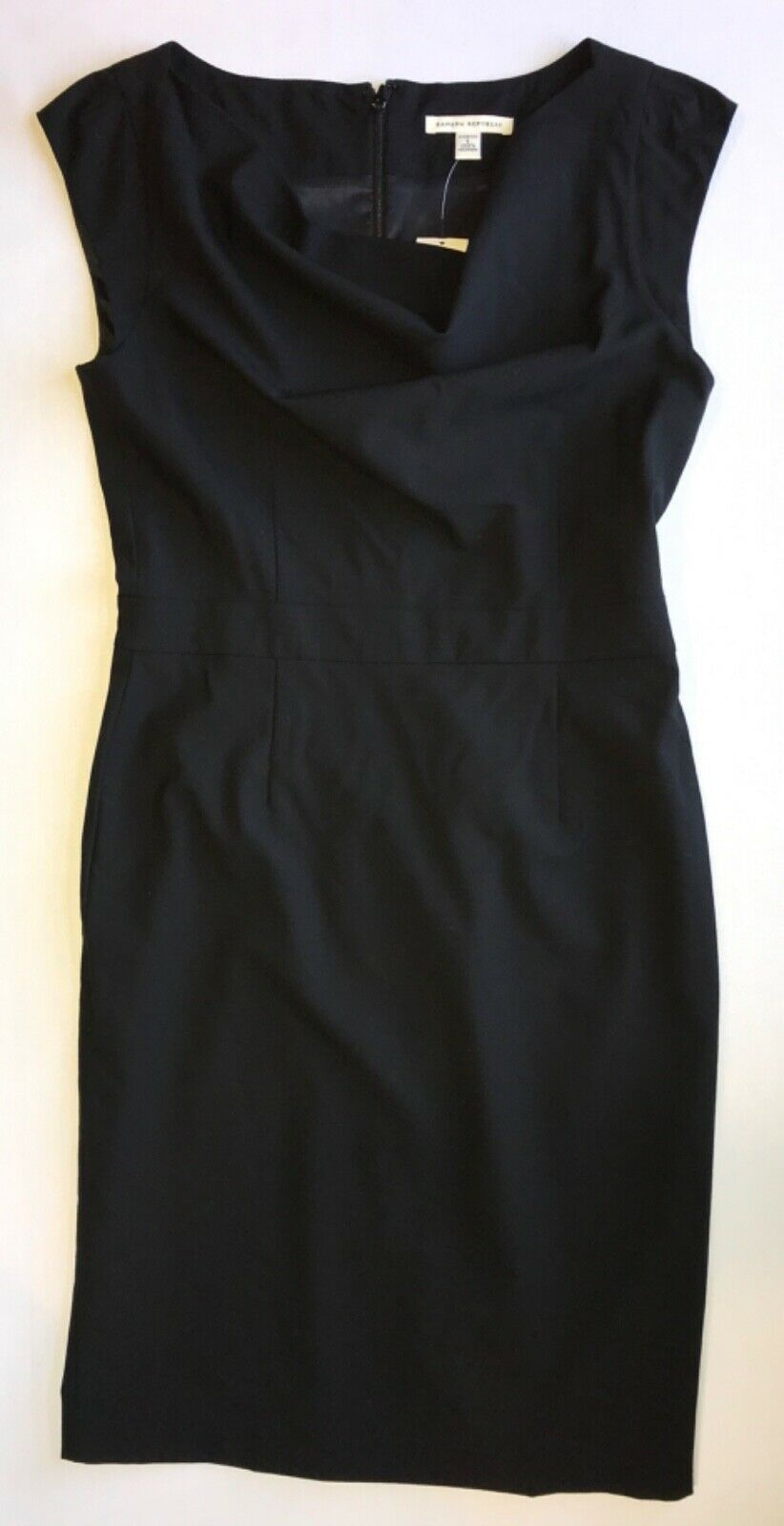 Primary image for Black Cowl Neck Front Cap Sleeve Shift Dress in size 6 by Banana Republic