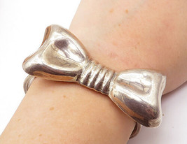 MEXICO 925 Silver - Vintage Large Bow Tie Detail Smooth Cuff Bracelet - ... - $148.72