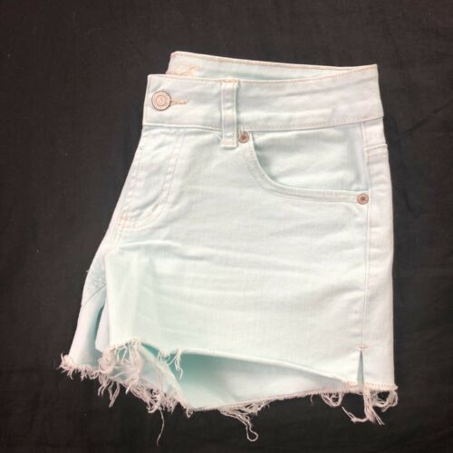 American Eagle Women's Green Cut Off Shorts 6 image 6