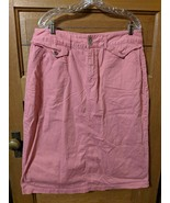 CJ Banks Denim Skirt Size 16 Pink Jean Modest Womens Christopher - $19.99