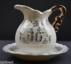 Vintage 50th Anniversary Creamer & Underplate Gold Embellishments Collectible - $14.99