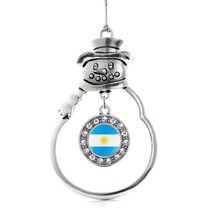 Inspired Silver Argentina Flag Circle Snowman Holiday Christmas Tree Ornament - $14.69