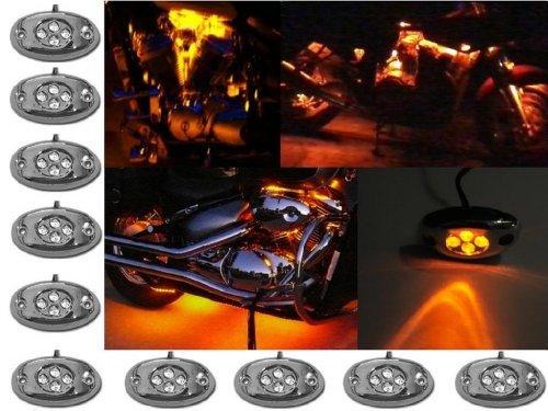 OCTANE LIGHTING 10 Orange Amber LED Chrome Module Motorcycle Chopper Frame Neon  - $29.65