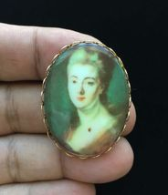 Vintage Oval Lady Ceramic PORTRAIT BROOCH Pin set in Gold-Tone - 1 3/4 i... - $45.00