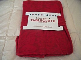 """NEW RED TABLECLOTH Fabric Poinsettia Floral Embossed Pattern 60"""" Round - $14.46"""