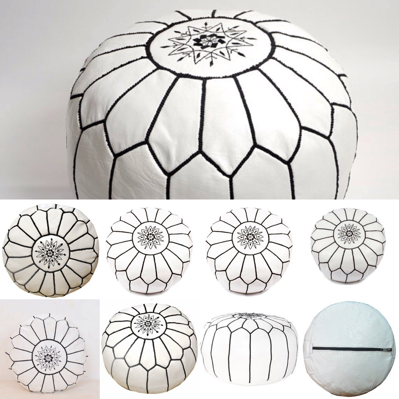 unstuffed High Leather Quality White /& black stitching MOROCCAN POUF OTTOMAN