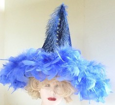 Witches Halloween Hat with Hand Decorated Blue Feathers and Rhinestones - $44.88