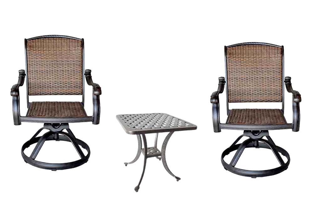 Bistro Outdoor 3pc patio set 2 Santa Clara Swivel Rockers and Nassau end table