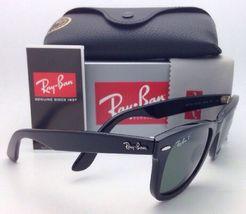 New Ray-Ban Polarized Sunglasses RB 2140 901/58 54-18 WAYFARER Black Frame/Green image 6