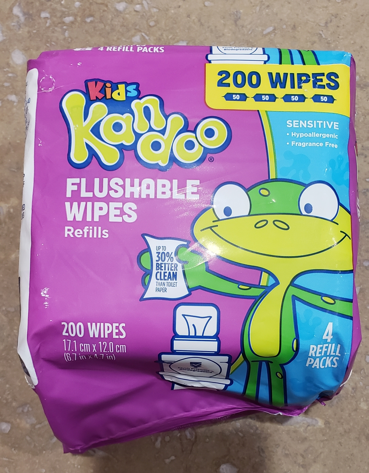 Primary image for Kandoo Kids Flushable Wipes Sensitive 200 Wipe 4 Resealable Packs of 50 Wipes