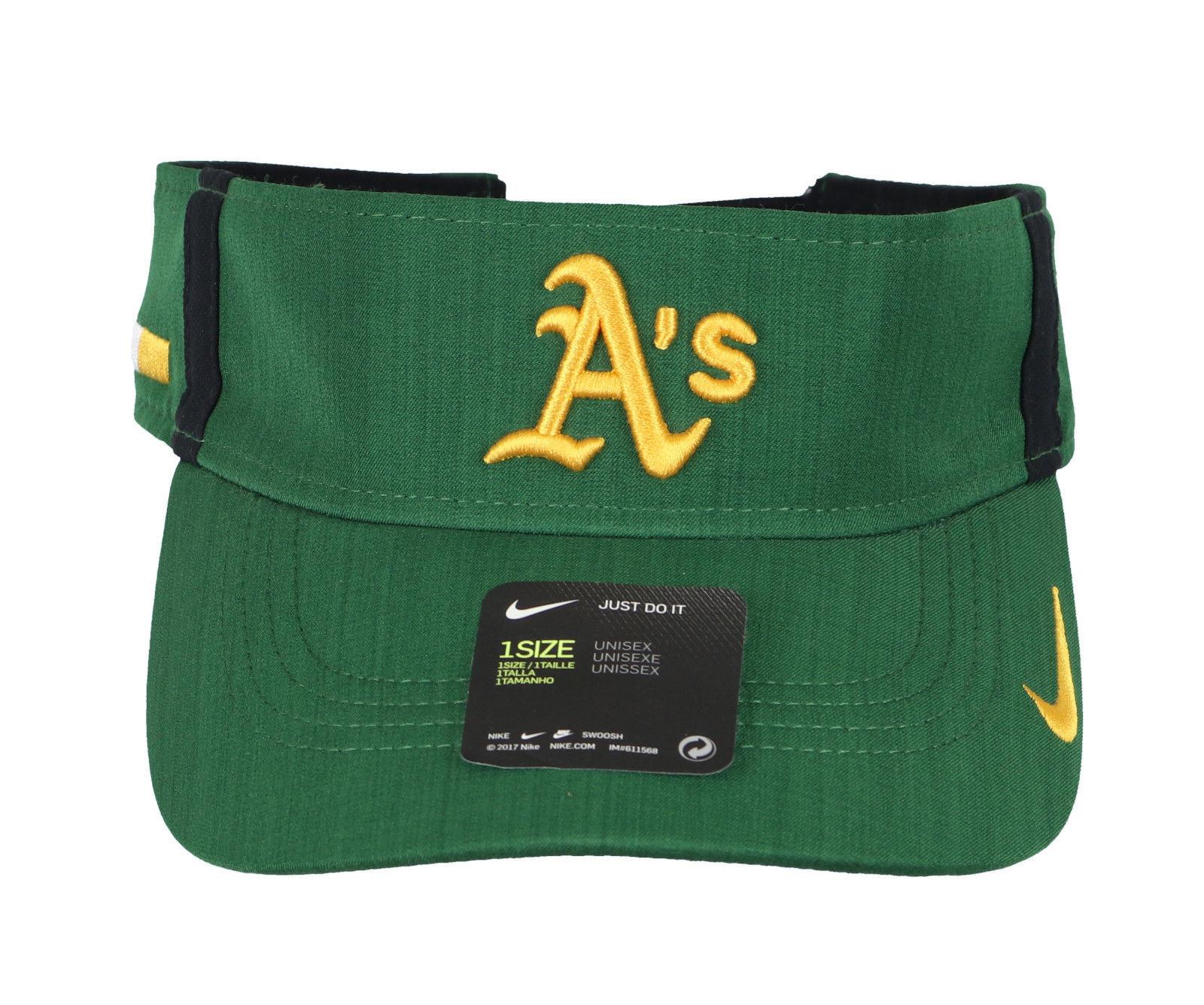 finest selection 9c687 0f071 NIKE Oakland Athletics AeroBill Vapor Visor One Size Green Yellow Hat Cap  A s