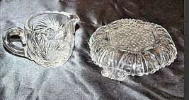 GlassCreamer and Serving Tray with Detailed AA18-11894VintageHeavy Etched image 5