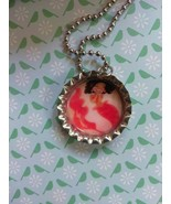 Pink Tailed Mermaid Bottle Cap Necklace - $4.00