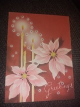 Pink Poinsettias Candles Stars Vintage Christmas Card - $4.00