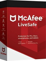 Mcafee Livesafe 2021 - 3 Year Product Key Unlimited - Windows Mac -DOWNLOAD - $66.99