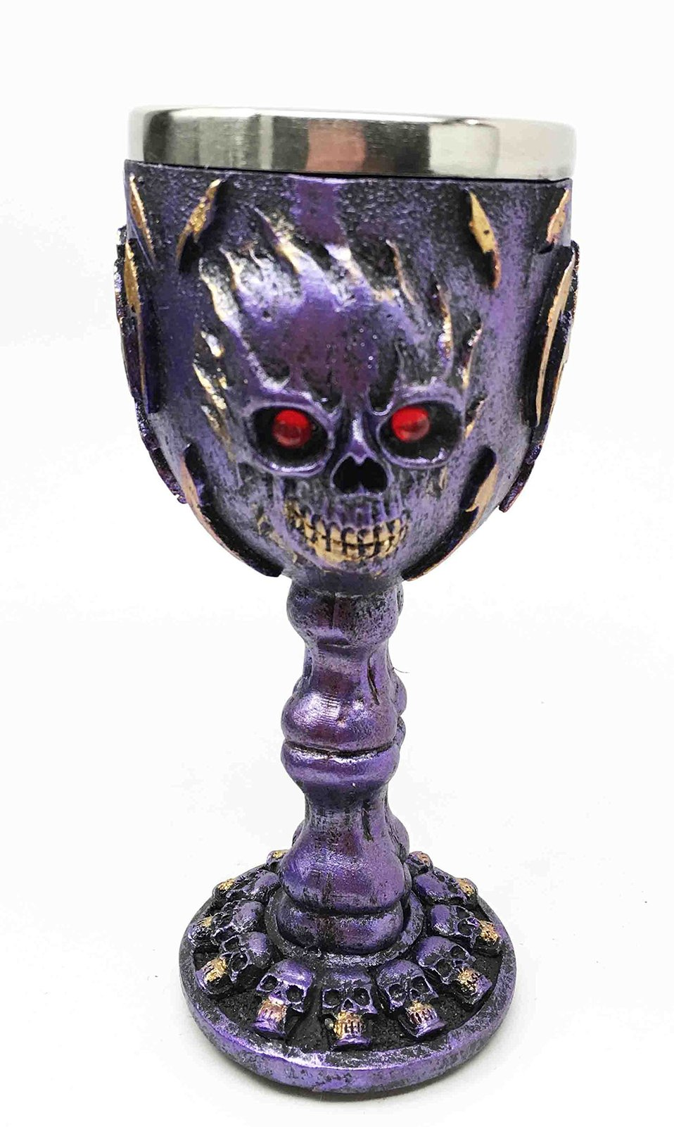Flaming Skull Purple Ghost With Bloody Eyes 5oz Wine Drink Goblet Chalice