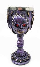 Flaming Skull Purple Ghost With Bloody Eyes 5oz Wine Drink Goblet Chalice - €15,43 EUR