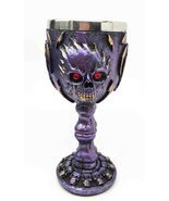 Flaming Skull Purple Ghost With Bloody Eyes 5oz Wine Drink Goblet Chalice - £14.20 GBP