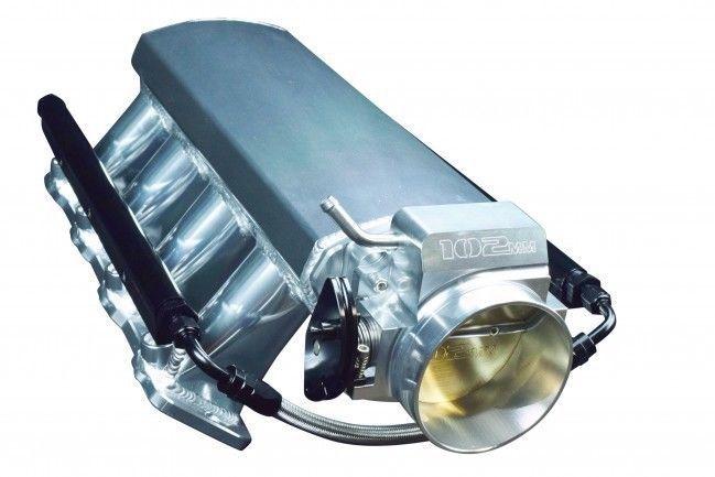 SHORT FABRICATED GM LS LS1 LS2 LS6 INTAKE MANIFOLD W/ FUEL RAILS & THROTTLE BODY