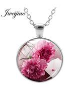 JWEIJIAO Handmade Carnation Necklace Flower Image Glass Gems Sweater Cha... - $8.13