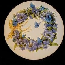 Marjolein Bastin Salad Plate Blue Skies Butterfly Wreath Retired Hallmar... - $19.79